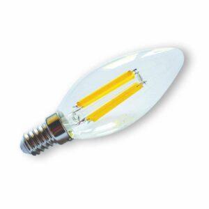 LED žárovka E14 svíčka čirá